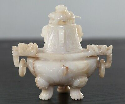 Antique Chinese carved white jade incense burner, Qing Dynasty 19th Century FINE