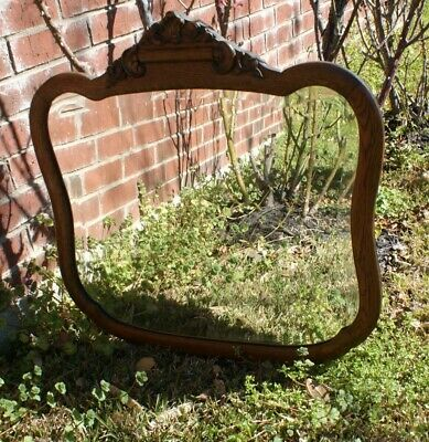 Antique Large OAK CARVED SOLID & Heavy Mirror