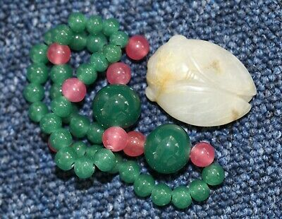 Antique Chinese carved jade Cicada necklace, 19th century, Qing Dynasty, FINE.