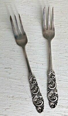 Vintage Norway 830 Silver Pair Of Fish Or Pickle Forks -Brodrene Mylius -Nm-Tele
