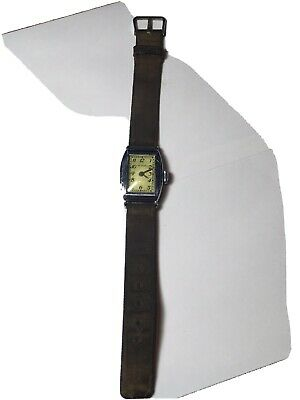 Vintage New Haven Art Deco Mans Wwii Military  Trench Watch Green Canvas Elgin