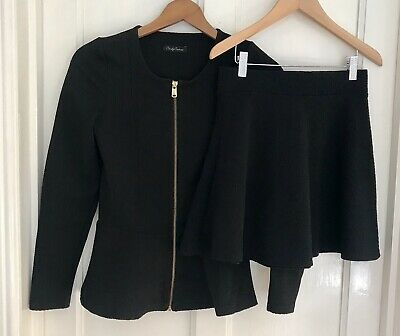 CANDY COUTURE Girls/Teens' Black Stretch Skirt & Jacket Set-Size 12-14 Years-VGC