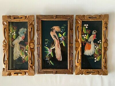 Vintage Mexican FolkArt Feathercraft Bird Set Of 3 Pictures hand carved frames