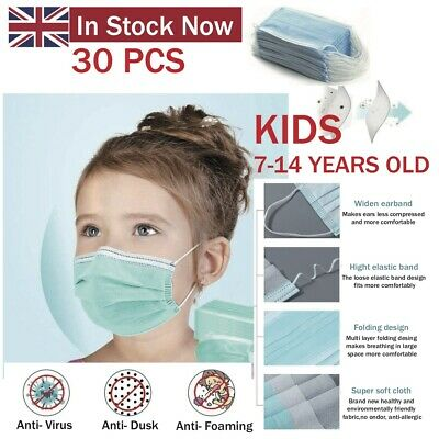 Kids 30 X 3 Ply Face Protect things Adjustable Germs Comfort Medical