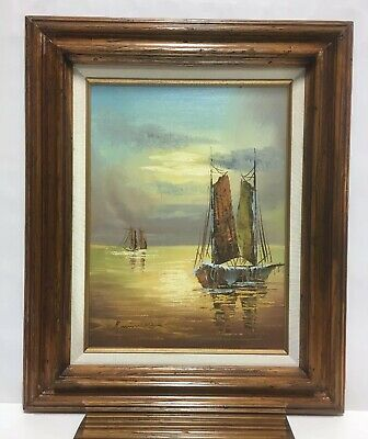 VTG. French Impressionist Signed Oil On Canvas Painting Sailboat Scene