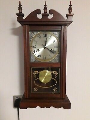 Vintage C. Wood & Sons Mechanical Wooden Wall Clock,  With Pendulum  & Strike