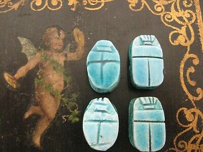 lot of Vintage Antique Egyptian Carved Faience Scarab Beetle Beads bead lot 4pc