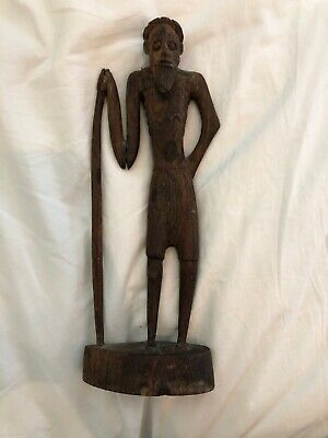 Hand Carved Wooden Bearded Man with Walking Stick