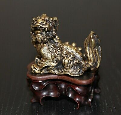 Antique Chinese gilt bronze scholars scroll weight, 19th century, Qing Dynasty.