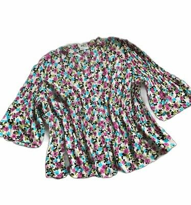 Fashion Bug Womens Top Plus Size 3X Sheer Blouse Floral Print Tunic Pleated Pink