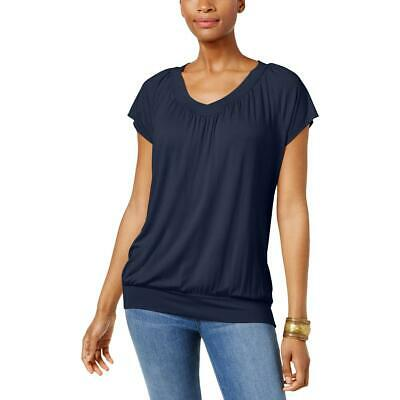 JM Collection Womens Navy Solid V-neck Casual T-Shirt Top S BHFO 4868