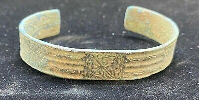 Authentic Ancient Lake Ladoga VIKING Artifact > Bronze Bracelet  VW19