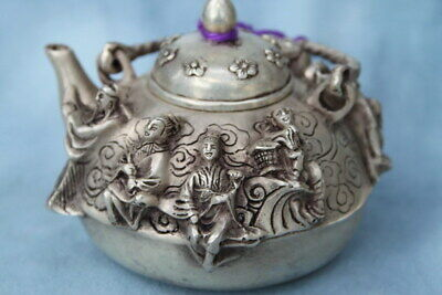 Decoration Rare Collectable Miao Silver Carving Ancient Gods Exquisite Tea Pot