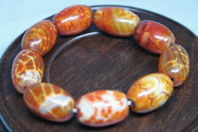 Collectable Agate Natural Polishing Beige Beads Noble Auspicious Hand Catenary