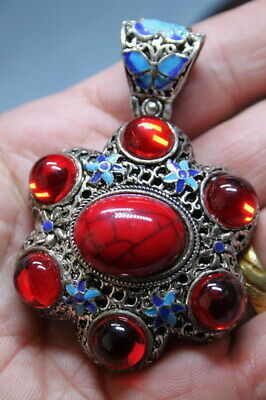 Handmade China Decoration Precious Miao Silver Inlay Red Gems Auspicious Statue