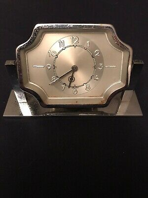 Chrome Art Deco Style 8 Day Mantel Clock for Spares or Repair