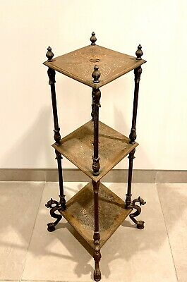 Antique Finely Cast Iron Plant Stand ~ Dolphin Feet ~ Victorian ~ Edwardian