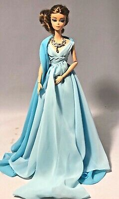 Gold Label Silkstone Barbie Blue Chiffon Ball Gown Doll DYX74 Displayed Doll