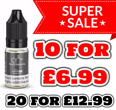 6 x Nicotine Shots 10ml 18mg/ml By NicDrops Nic Shots 70%VG Premium UK made