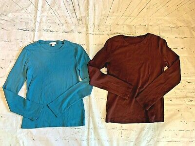 Garnet Hill Maroon and Teal Green Long Sleeved Cotton Stretch Shirts Tops Small
