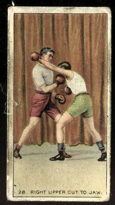 Tobacco Card, Carreras Back,THE SCIENCE OF BOXING,1914,Right Uppercut To Jaw,#28