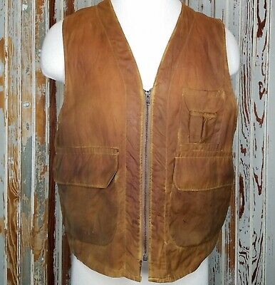 Vtg 60's Redhead Waxed Cotton Hunting Fishing Vest Large USA Oilskin Distressed