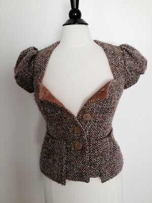 Anthropologie Elevenses Capped Sleeve lined Vest / top womens size 2 petite