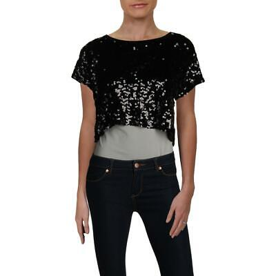 INC Womens Black Sequined Split-Back Short Sleeves Crop Top Shirt L BHFO 5425