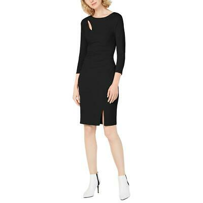INC Womens Black Cut-Out Split-Hem Three-Quarter Sheath Dress XL BHFO 2324