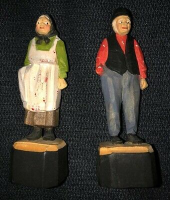 Vintage Carved Wood Figures - Old Man & Old Woman - Folk Art Figurines - Signed