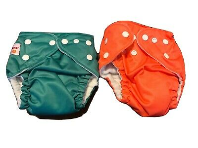 Lot of 2 Fuzzibunz One Size Pocket Cloth Diapers with Snap Closure W Inserts