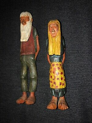 Vintage Carved Wood Figures - Old Man & Old Woman  - Hippies - Folk Art