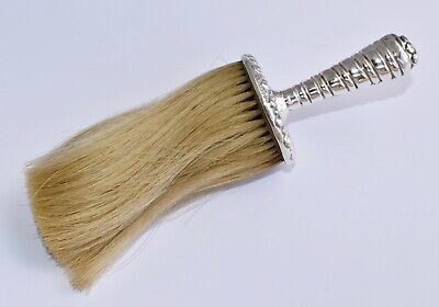 Antique 1888 Sterling Silver Long Haired Clothes Brush - Repousse Half Fluted
