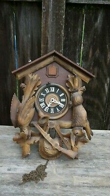 Vintage German  Black Forest Cuckoo Clock, Hunting Scene,