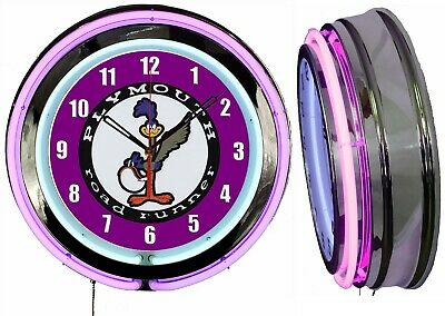 """Plymouth Road Runner 19"""" Purple Double Neon Clock Man Cave Garage Shop Classic"""