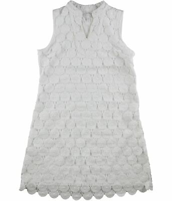 Charter Club Womens Floral Lace Shift Dress, White, Large