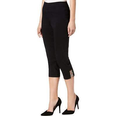 JM Collection Womens Black Comfort Waist Capri Pants Petites PS BHFO 5310