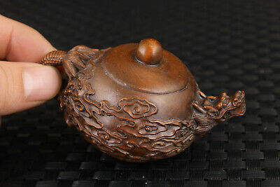 Rare old boxwood hand carved dragon statue unique tea pot collectable gift