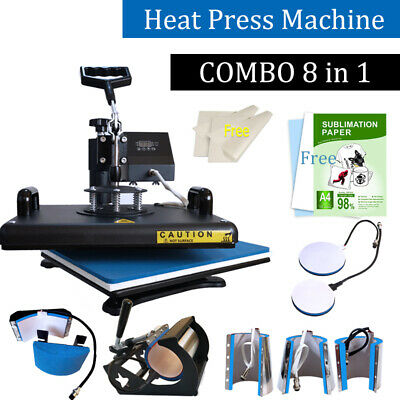 Combo 8in1 Heat Press Machine Digital Transfer Sublimation T-shirt Plate Mug Hat