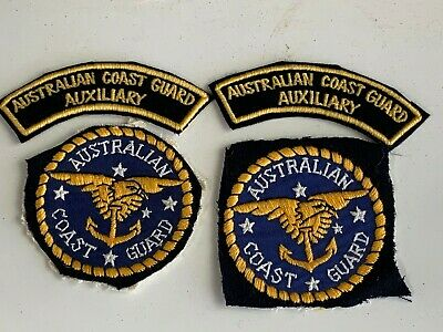 4 Badge Patches Australian Coast Guard , Auxiliary Shoulder Titles