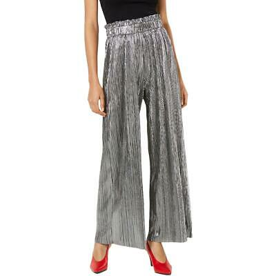Be Bop Womens Silver Paperbag Shimmer Pleated Palazzo Pants Juniors L BHFO 0365