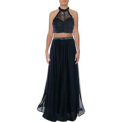 Sequin Hearts Womens Navy 2PC Embellished Formal Dress Gown Juniors 13 BHFO 6253