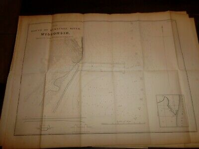 3 WISCONSIN MAPS 1836  -  23 X 17 In. -  ROOT River MILWAUKEE Entrance KEWAUNEE