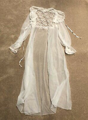 Vintage Alfred Angelo White Lace Sheer Lingerie Robe