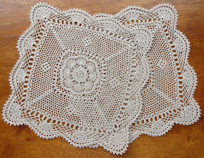 Set of Two Hand Crocheted DOILIES in Taupe Intricate Pattern 'Never Used'