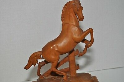 Beautiful Hand Carved Rearing Stallion Horse Fine Details