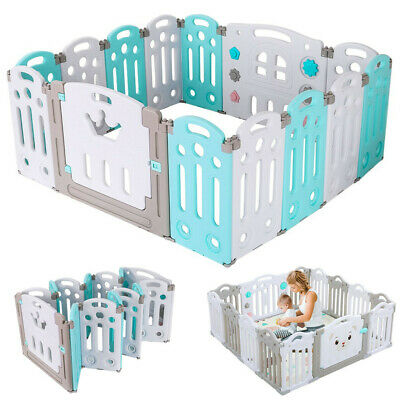 14 Panel Foldable Baby Playpen Kids Activity Safety Fence Play Center Play Yard