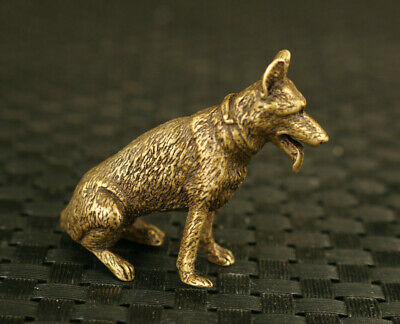 chinese old bronze handmade Seat Dog statue figure Tea Pet collectable gift