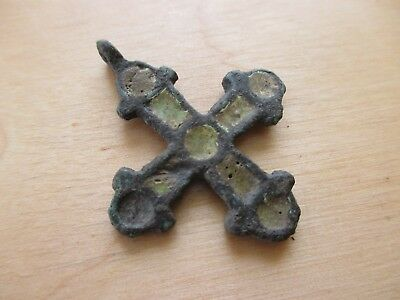 Fine Viking cross pendant with yellow enamel. Kievan Rus 10-12 AD.
