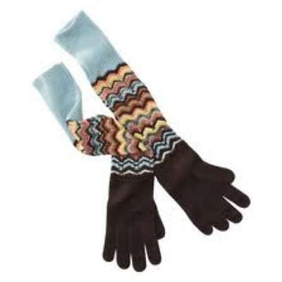 MISSONI for TARGET Long Winter KNIT GLOVES Brown Multi-Colored ONE SIZE